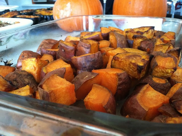 Chop the sweet potatoes. toss in an oven dish with salt, rosemary and olive oil. Bake at 350 until tender and browned.