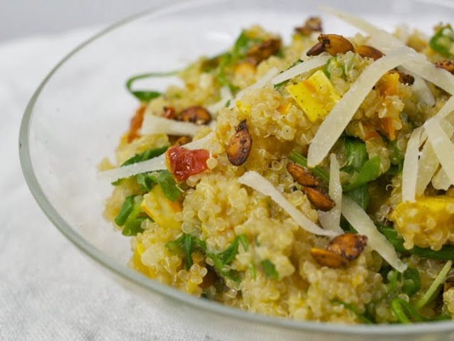 Quinoa Risotto with Squash, Arugula and Sun-Dried Tomatoes