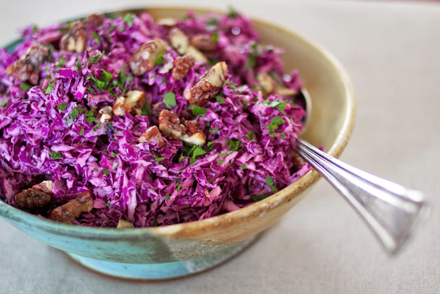 Pecan and Red Cabbage Slaw (with Homemade Aioli)