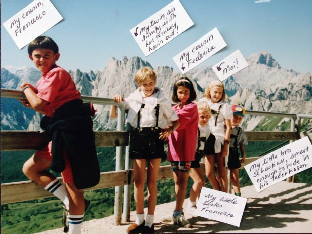 Of course, the only picture I can find is from Cortina, when Mamma thought it would be fun to wear matching lederhosen.