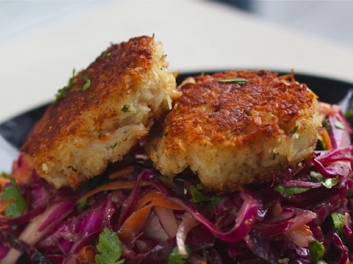 Coconut Crab Cakes and Curried Coleslaw