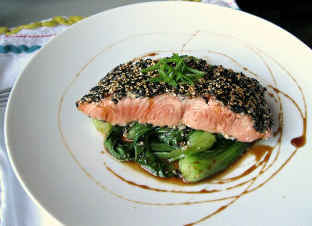 Nicole Gaffney's Sesame Crusted Bristol Bay Sockeye Salmon with Sweet Soy Glaze