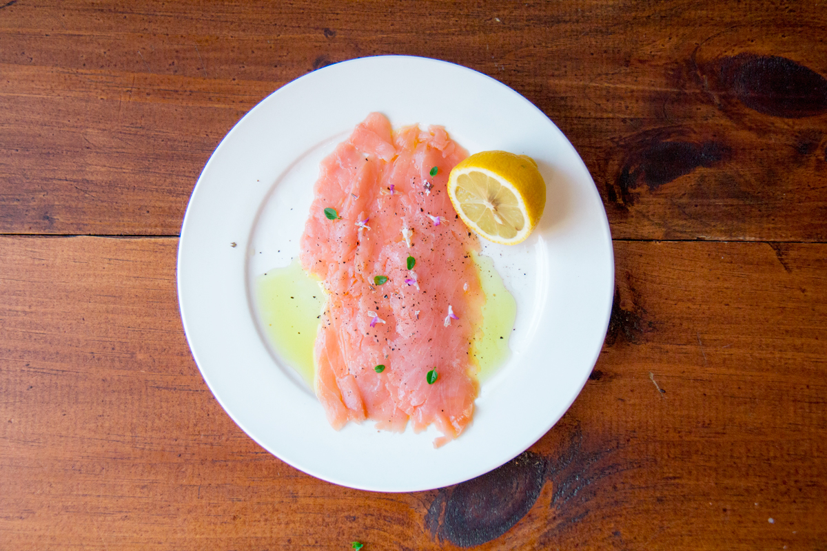 Alice Water's Wild Salmon Carpaccio with Chervil and Green Coriander Seeds