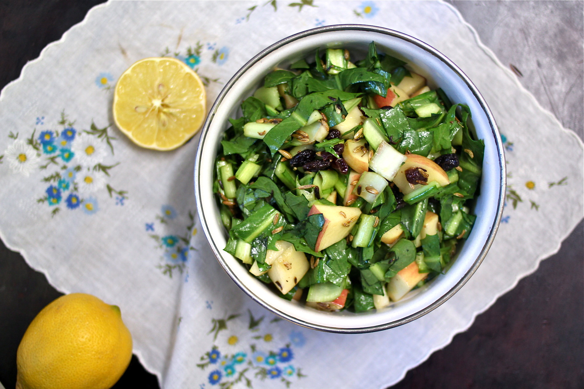 Dandelion, Apple and Toasted Fennel Seed Salad