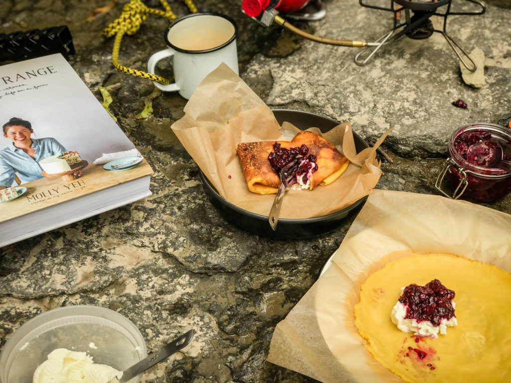 Juneberry Jam and Ricotta Blintzes to celebrate #Instaglamp2017 with Molly Yeh (@mollyyeh) and Johnna Holmgren (@foxmeetsbear) at Firelight Camps in Ithaca, New York.