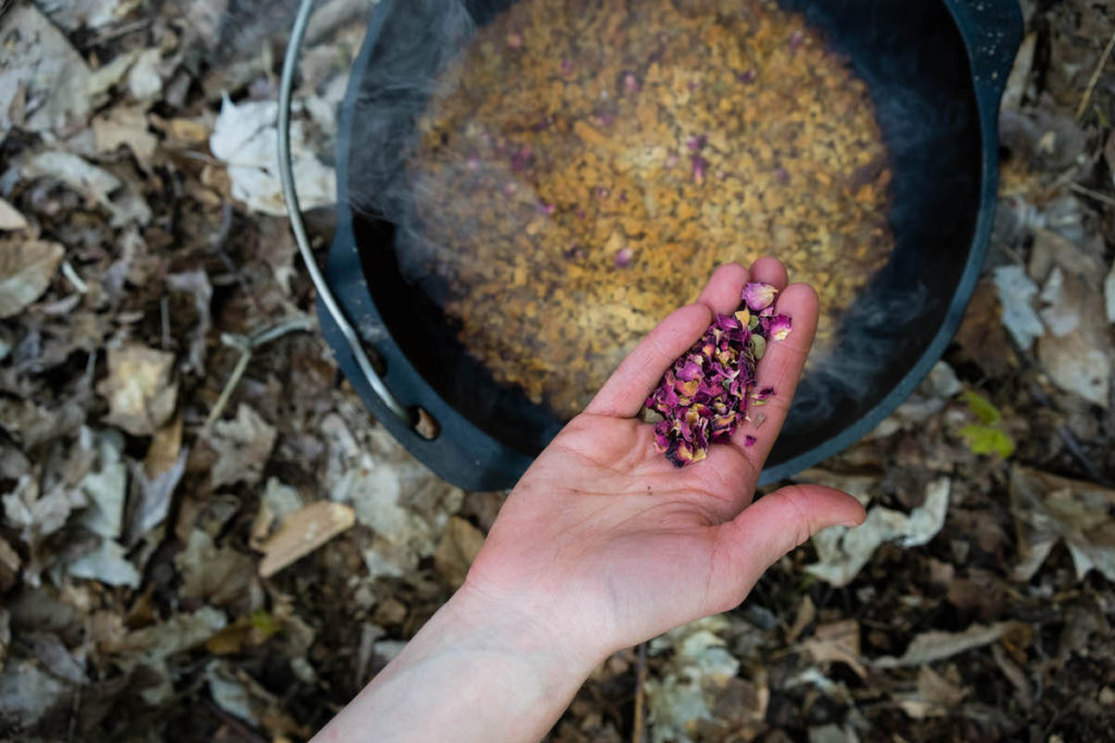 Peach Campfire Crisp with Rose Petals made with a Barebones Living Dutch oven