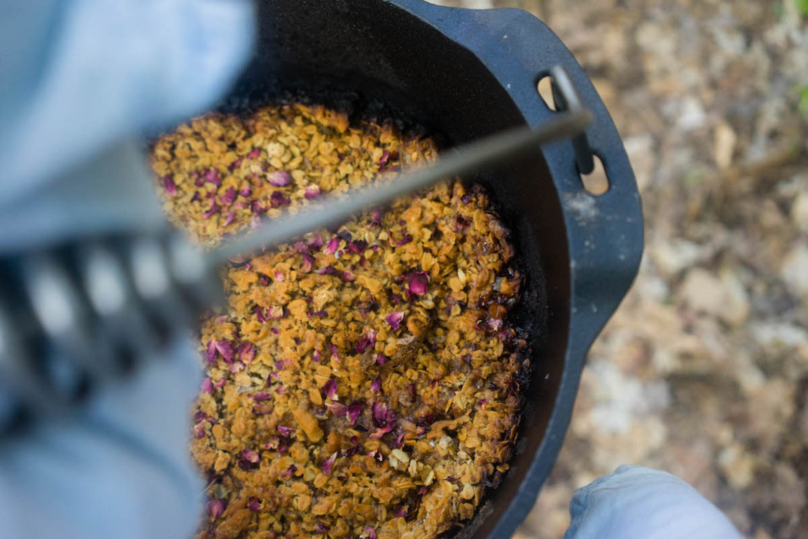 Peach Campfire Crisp with Rose Petals (Gluten Free)