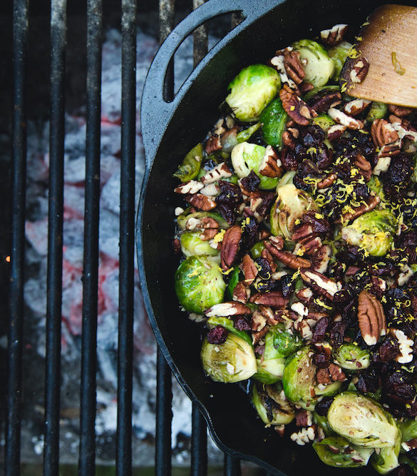 Bacon Brussels Sprouts with Pecans & Cranberries