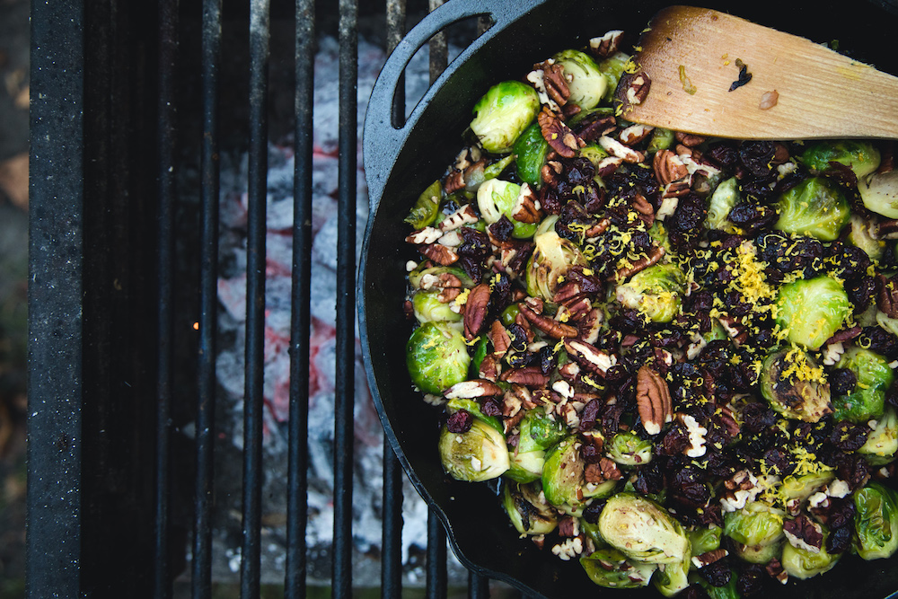 Bacony Brussels Sprouts with Pecans & Cranberries