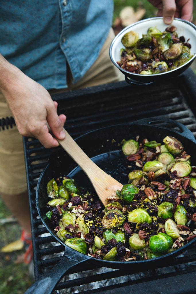 Skillet Bacony Brussels Sprouts with Pecans and Cranberries for Thanksgiving or Holidays