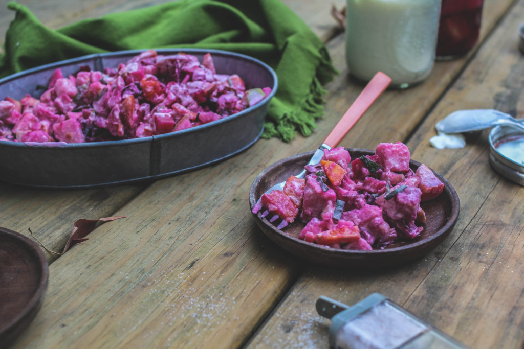 Finnish Potato Salad with Apples and Beets adapted from Fire and Ice: Classic Nordic Cooking