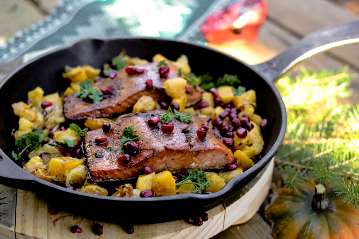 Molasses-Ginger Salmon with Roasted Acorn Squash & Pomegranate