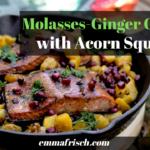 molasses ginger glazed wild salmon with acorn squash in a cast iron skillet