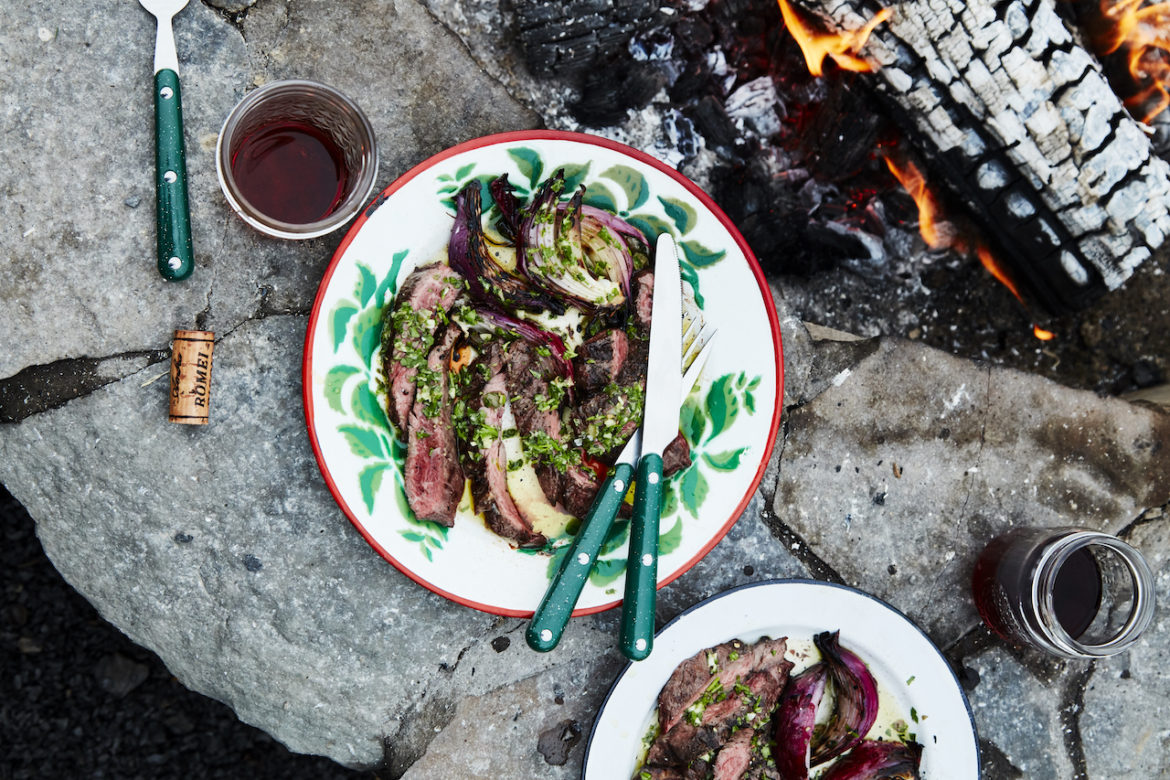 Fire-Licked Flank Steak with Mamma's Salsa Verde – Cooking Video