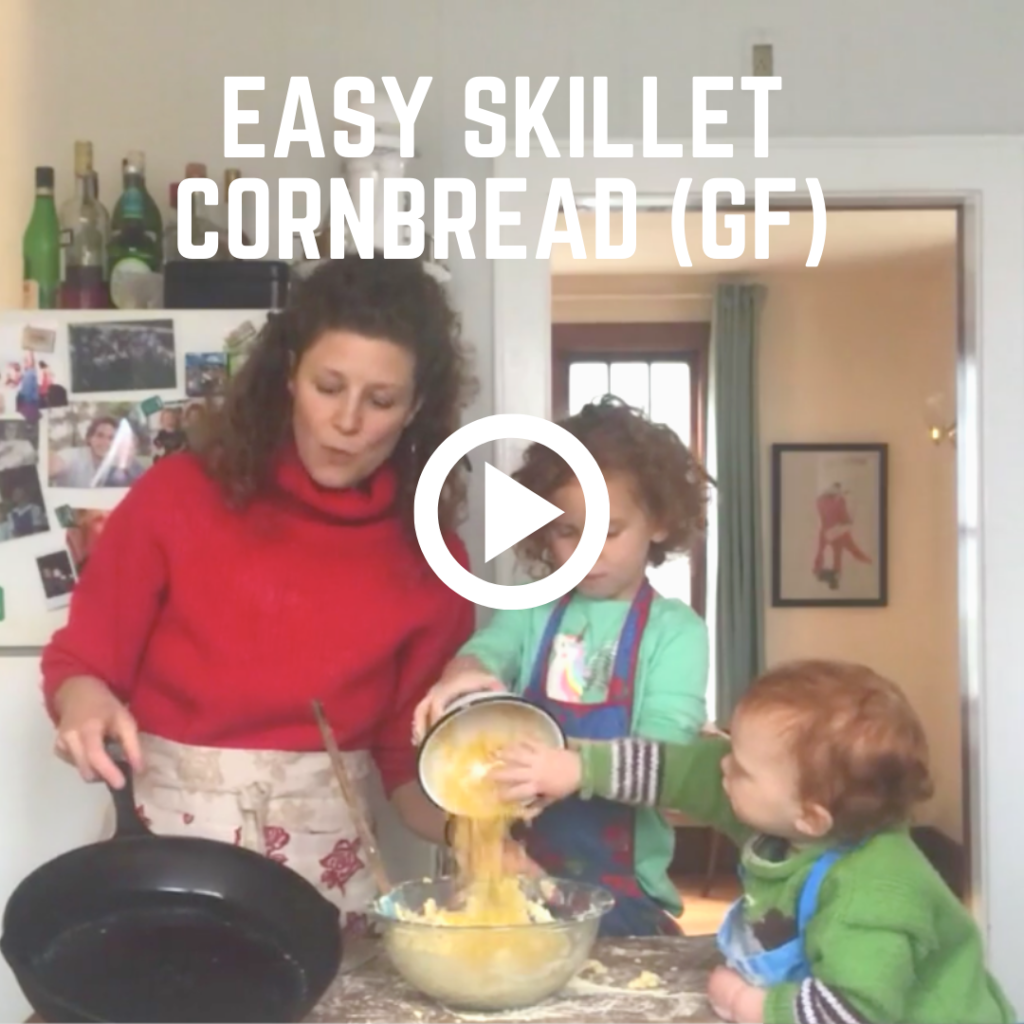 In Emma Frisch's IGTV series Cooking With Kids, learn how to make Easy Skillet Cornbread (gluten-free) with basic pantry ingredients, a perfect cozy dish for Corona quarantine and social distancing times.