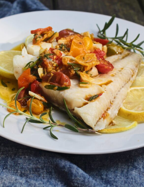 Baked Alaskan Black Cod with Braised Tomatoes