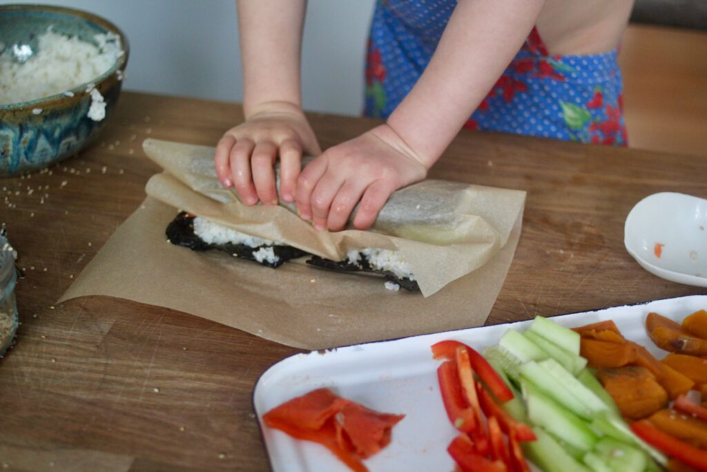 making sushi rolls with kids