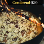 crockpot cheddar cornbread with melted cheese on top